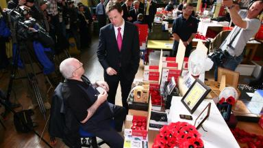 Poppy factory: Nick Clegg visiting Edinburgh in 2010.