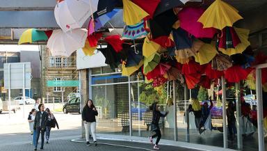 A flock of umbrellas have emerged in Edinburgh