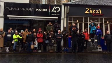 Long wait: Fans awaiting DiCaprio's arrival.
