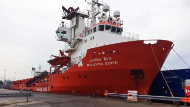 Stranded: Malaviya Seven at Aberdeen Harbour.