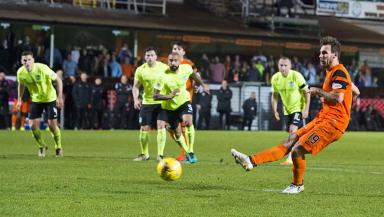 Level pegging: Dundee United's win takes them joint top with Hibs.