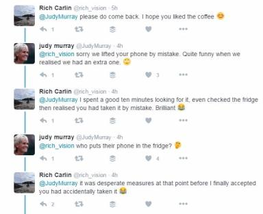 Twitter exchange: Judy said sorry for lifting the phone.