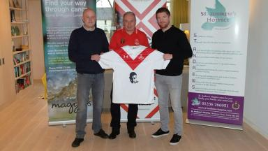 From left: Club chairman Tom Wotherspoon, trust chairman Willie Marshall and Airdrie boss Mark Wilson.