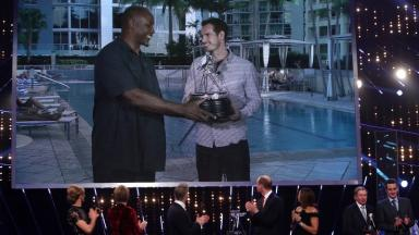Lennox Lewis presented Andy Murray with the award in Miami.