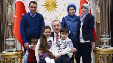The family visited Mr Erdoğan at his Presidential Complex.