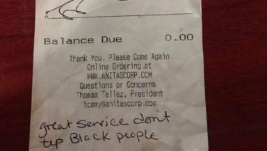 Restaurant bill: The racist message.