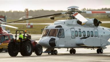 Grounded: S92 helicopter on the runway in Aberdeen.