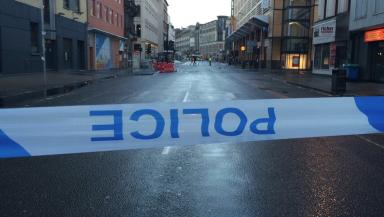 Cordon: Police seal off Jamaica Street after hit-and-run.