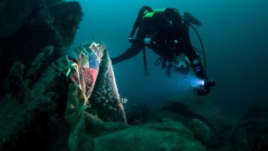 Wreck: Divers explore HMS Vanguard.