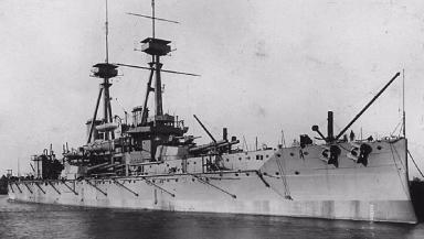 Warship: HMS Vanguard before sinking.