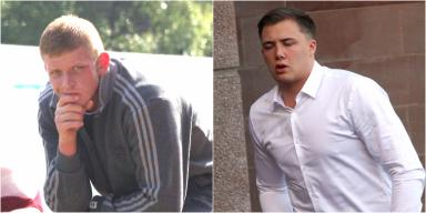 Guilty: Jordan Binnie, left, and Fraser Anderson sentenced at Falkirk Sheriff Court.