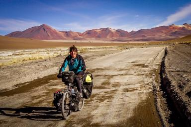 Ishbel has cycled through 16 countries so far.