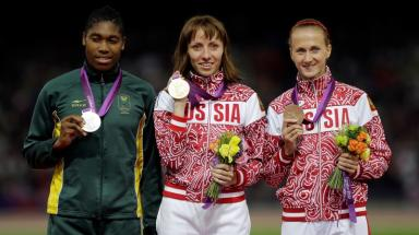 Caster Semenya (l) could receive a gold medal for London 2012.