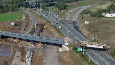 Motorway: The new section under construction.