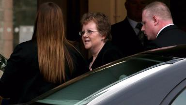 Mother: Cathy Logan spoke at the service.