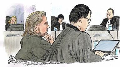 Coban: Artist's impression of accused on trial in Amsterdam.