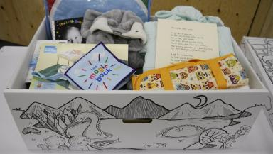Baby box: Filled with useful items for new parents.