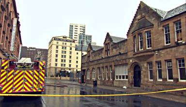 Cordon: The fire resulted in a road closure.