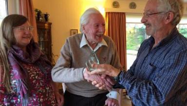 Philip Rankin: Receiving Snowsport Scotland Lifetime award.