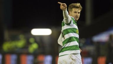 Stuart Armstrong celebrates his goal in the Highlands.