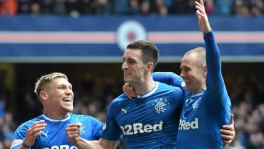 Lee Wallace (centre) scored at the weekend.