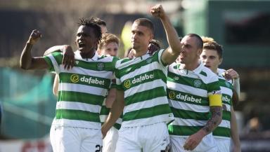 Dedryck Boyata and Jozo Simunovic celebrate for Celtic.