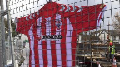 Ryan McBride's shirt was hung near Derry City's football ground in Brandywell in tribute.