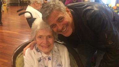 Hollywood actor George Clooney and long-time admirer Pat Adams.
