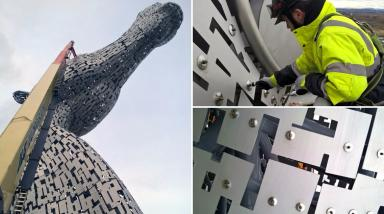 The Kelpies: The 98ft sculptures are being spruced up for their third birthday.