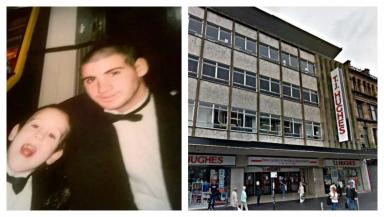 Tragic: Matthew Bloomer, pictured with a younger relation, was found dead outside a Glasgow department store.