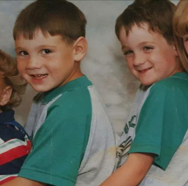 Victim of homelessness: Matthew with brother Paolo, left, as children.