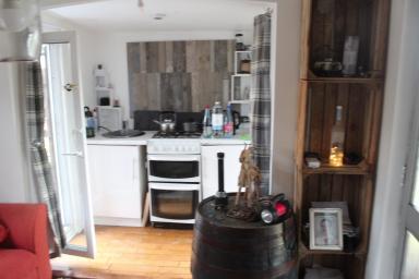 Inside Angus's new home.