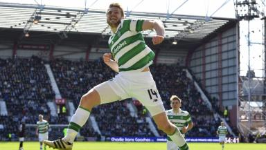 Stuart Armstrong celebrates his screamer against Hearts.