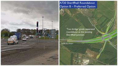 Collage showing plan for a flyover at the Sheriffhall roundabout, Edinburgh bypass A720.