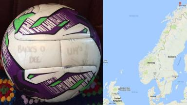 North sea: The ball travelled 1800km.