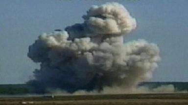 The MOAB weapon is seen exploding in 2003 during its first tests, eight days before the US invaded Iraq.