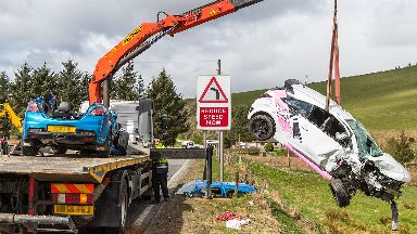 Huntly: Cars being recovered after crash near town.