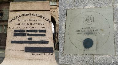 Defaced: Memorial to Crimean War general Charles Gordon also defaced.