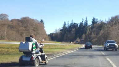 Scooter: Man spotted heading along the A9 in Perthshire.