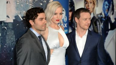 A-List: McAvoy with X-Men co-stars Oscar Isaac and Jennifer Lawrence.