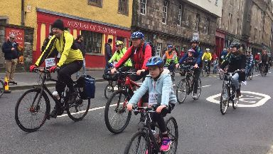 Cyclists: Hundreds of people took part in the event