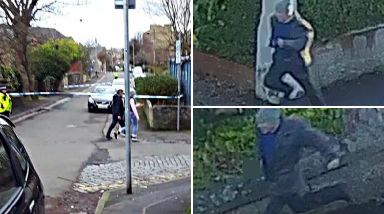 Shooting: Scene of the attack in Shawlands, left, and the CCTV images.