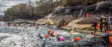 The swimmers love the challenge of the open water.