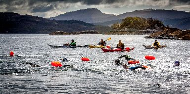 Volunteer kayakers take to the water to guide swimmers.