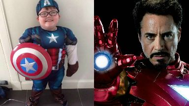 Iron Man: Aaron Hunter was surprised with a special video call from his hero.
