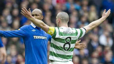 Broony: Brown celebrates equaliser against Rangers.