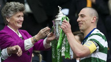 Winner: Brown lifts the Scottish Cup in 2011.