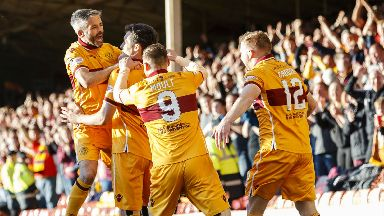 Motherwell celebrate securing their Premiership status.