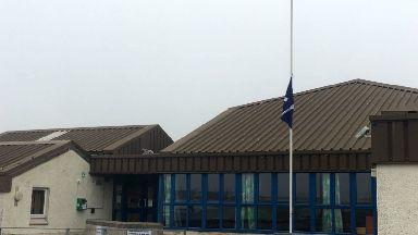 Island: Flag flying at half mast in Barra.