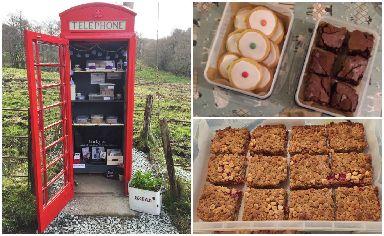 Beautiful bakes: Cladich phonebox full of freshly baked treats.